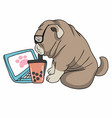 work from home french bulldog use laptop and drink vector image vector image