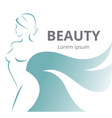 Abstract logo stylized beautiful woman in profile vector image