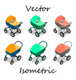 baby carriages in isometrics in different angles vector image vector image