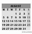 calendar design month august 2019 vector image vector image