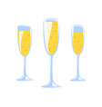 champagne glasses collection isolated on white vector image