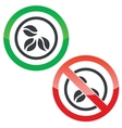 Coffee permission signs vector image