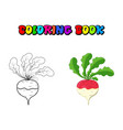 coloring book turnip cartoon icon design isolated vector image vector image