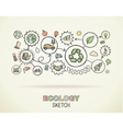 Ecology hand draw integrated icons set on squared vector image