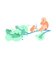 family of monkey mandrill on a tree vector image vector image