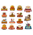 fast food drinks desserts and burgers icons vector image vector image