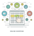 Flat line Online Shopping and E-Commerce vector image vector image