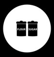 Flour and sugar simple black and green icon eps10