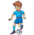 football playing boy vector image vector image