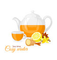 ginger and lemon cup tea vector image vector image