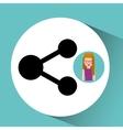 girl cartoon share icon design vector image vector image