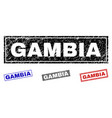 grunge gambia textured rectangle stamp seals vector image vector image
