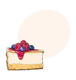hand drawn piece of cheesecake decorated with vector image vector image
