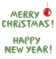 Happy New Year and Merry Christmas tree vector image vector image