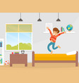 happy smiling boy jumping on his bed like a vector image vector image