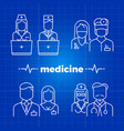 hospital staff line icons - medicine personal vector image vector image