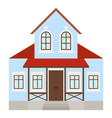 house two-storey residential building with porch vector image vector image