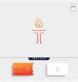 initial t torch logo template design vector image vector image