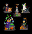 kids in halloween costumes isolated vector image
