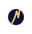 letter n thunder shape line logo vector image vector image