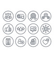 likes followers hearts rating line icons vector image vector image