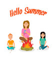mother with children sitting around bonfire poster vector image vector image