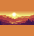 mountain sunset landscape realistic pine forest vector image