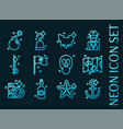 piracy set icons blue glowing neon style vector image