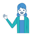 portrait young woman waving hand happy cartoon vector image