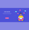 programmer man character design flat style vector image vector image