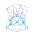 roulette with cards emblem casino related icon vector image