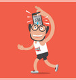 running man with sport activity application vector image vector image