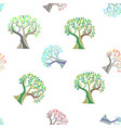 seamless pattern with colorful watercolor trees vector image vector image