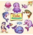 set of cute sea animals Dolphin pike vector image vector image