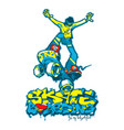 skateboarder and graffiti vector image