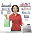 smiling girl sales clerk holding a shopping bag vector image vector image