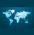 striped blue world map on dark background vector image vector image