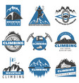 vintage colored mountain climbing labels set vector image vector image