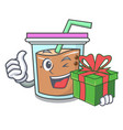 with gift bubble tea mascot cartoon vector image vector image