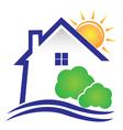House sun and bushes icon logo vector image