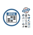 2016 Date Flat Icon With Bonus vector image vector image