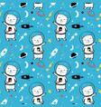 astronaut cat seamless pattern print design vector image