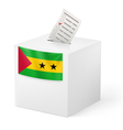Ballot box with voting paper Sao Tome and vector image