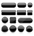 black glass buttons with metal frame collection vector image vector image