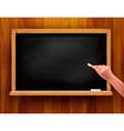 Blackboard with hand on wooden background vector image vector image