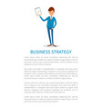 business strategy presenter with whiteboard info vector image