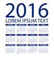 Calendar for 2016 on White Background Week Starts vector image vector image