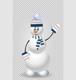 cartoon snowman character in blue knitted hat on vector image vector image