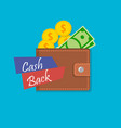 cash back wallet vector image
