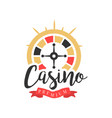 casino logo colorful vintage gambling badge or vector image vector image